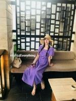 ชุดคนท้องสีม่วง Korea Minimal Botton Dress