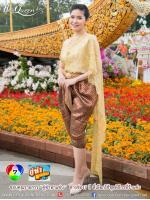 เช่าชุดไทย&#x2665 ชุดไทยสไบลูกไม้ฝรั่งเศสสีทอง โจงกระเบนโทนทอง