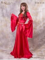 เช่าชุดแฟนซี &#x2665 ชุดแฟนซี ย้อนยุค ชุดเจ้าหญิง แขนปากแตร สีแดง แต่งขอบทอง