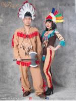 &#x2665 ชุดแฟนซี ชุดอินเดียแดง เสื้อ กางเกง พู่แดง ผู้หญิง