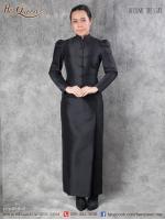 เช่า - ขาย ชุดไทย ไว้อาลัย &#x2665 ชุดไทยจิตรลดา ไว้ทุกข์ สีดำ ทรงเกล็ดหน้า แขนจีบ