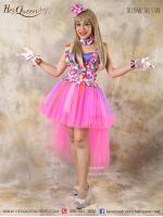 เช่าชุดแฟนซี &#x2665 ชุดแฟนซี ชุดโบโซ่หญิง ตัวตลก กระโปรงฟู สีชมพู