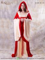 เช่าชุดแฟนซี &#x2665 ชุดแฟนซี ชุดวิคตอเรีย ยุโรป ชุดเดรสยาวมีฮู๊ด ผ้ากำมะหยี่ - สีแดง