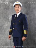 เช่าชุดแฟนซี &#x2665 ชุดกัปตัน นักบิน สูทสีน้ำเงิน ติดแถบทอง
