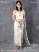 เช่าชุดไทย &#x2665 ชุดแต่งงานแบบไทย ชุดสีครีมงาช้าง สไบลูกไม้ฝรั่งเศลปักดิ้นทองและลูปัด - สีครีม