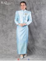 เช่าชุดไทย &#x2665 ชุดไทยจิตรลดา เสื้อฟ้าเข้ม ผ้าถุงลายไทยแต้มเหลือง
