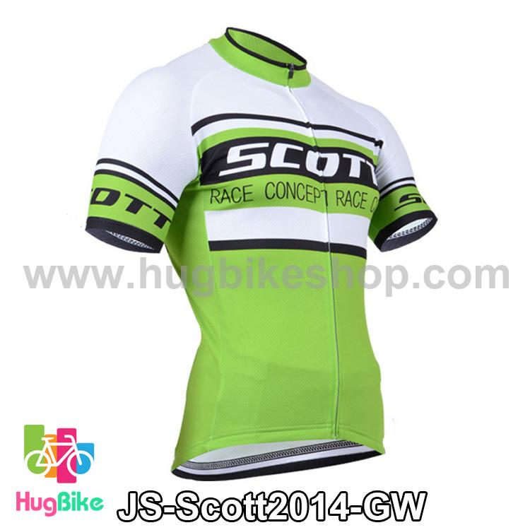 เสื้อจักรยานแขนสั้นทีม Scott 14 (01) สีเขียวขาว สั่งจอง (Pre-order)