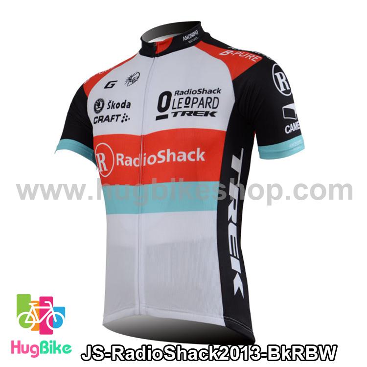 เสื้อจักรยานแขนสั้นทีม RadioShack 2013 สีดำแดงฟ้าขาว สั่งจอง (Pre-order)