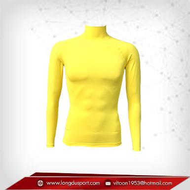 Body Fit / Base Layer เสื้อรัดรูป คอตั้ง แขนยาว สีเหลือง yellow