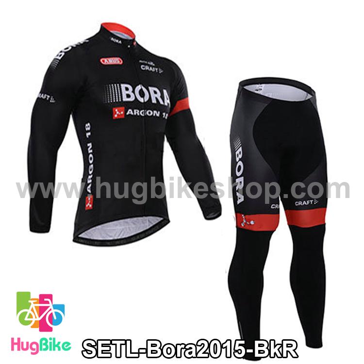 ชุดจักรยานแขนยาวทีม Bora 15 สีดำแดง