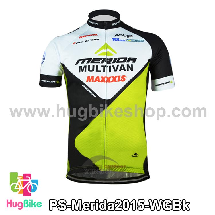 เสื้อจักรยานแขนสั้นทีม Merida 2015 สีขาวเขียวดำ สั่งจอง (Pre-order)