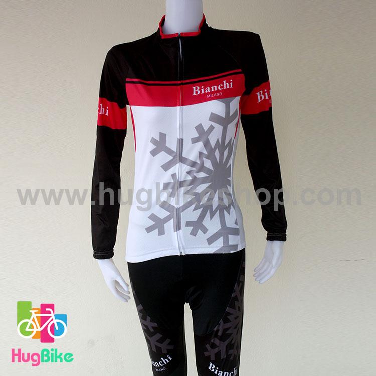 ชุดจักรยานแขนยาวขายาว Bianchi (02) สีขาวดำชมพู