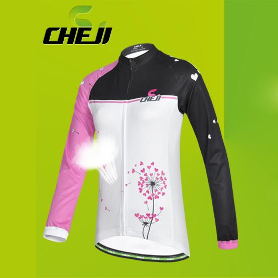 เสื้อจักรยานผู้หญิงแขนยาว CheJi สีขาวดำชมพู สั่งจอง (Pre-order)