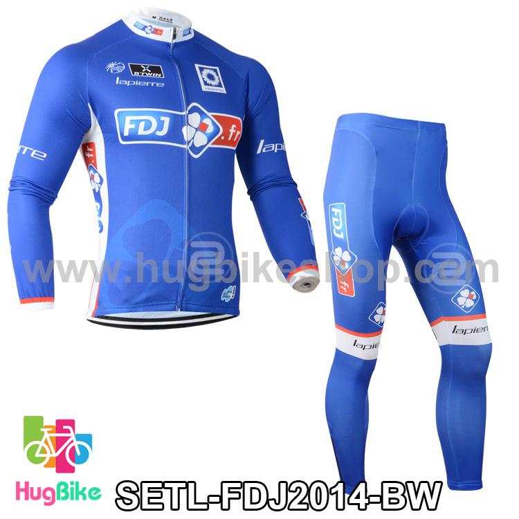ชุดจักรยานแขนยาวทีม FDJ 14 สีฟ้าขาว สั่งจอง (Pre-order)