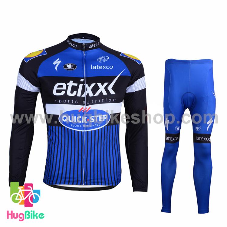 ชุดจักรยานแขนยาวทีม Quick Step 16 (01) สีน้ำเงินดำ