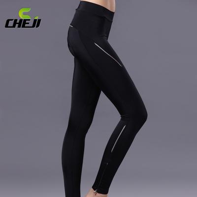 กางเกงจักรยานผู้หญิงขายาว CheJi สีดำ