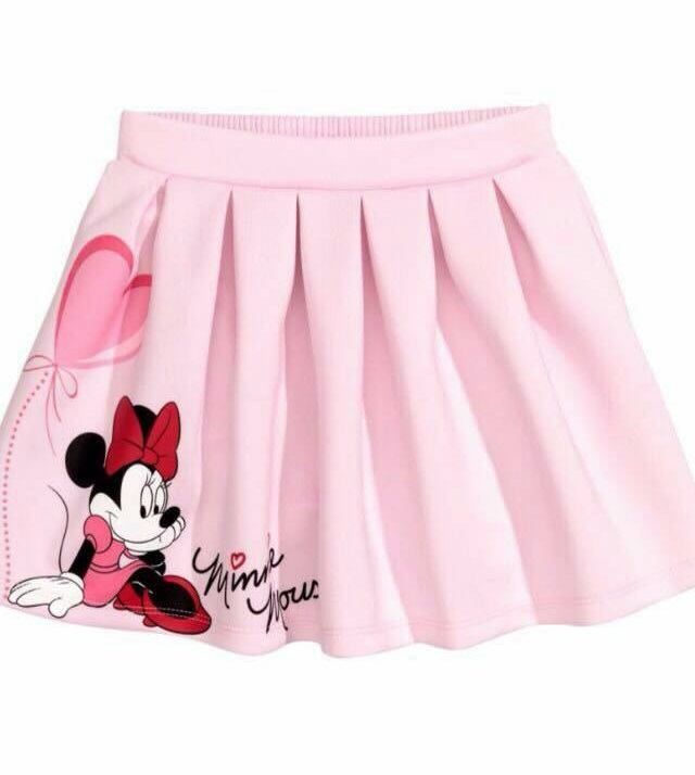H&M : กระโปรง เอวยืด ลายมินนี่เมาส์ สีชมพู เนื้อผ้า cotton ยืด size : 1-2y / 2-4y / 10-12y
