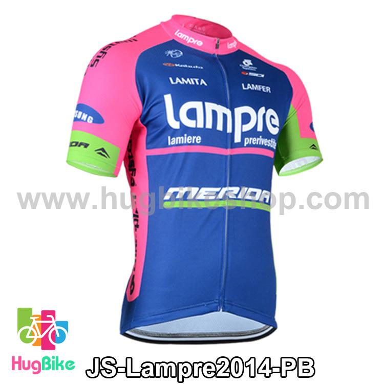 เสื้อจักรยานแขนสั้นทีม Lampre 2014 สีชมพูฟ้า สั่งจอง (Pre-order)