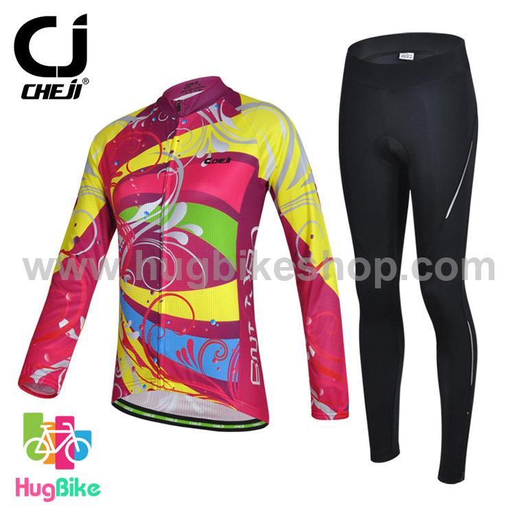 ชุดจักรยานผู้หญิงแขนยาวขายาว CheJi 15 (06) สีชมพูลายเหลือง