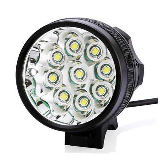 ไฟหน้าจักรยาน CREE XM-L T6 LED 9 ดวง ความสว่าง 10800 Lumen พร้อมแบตเตอรี่ครบชุด (DC)