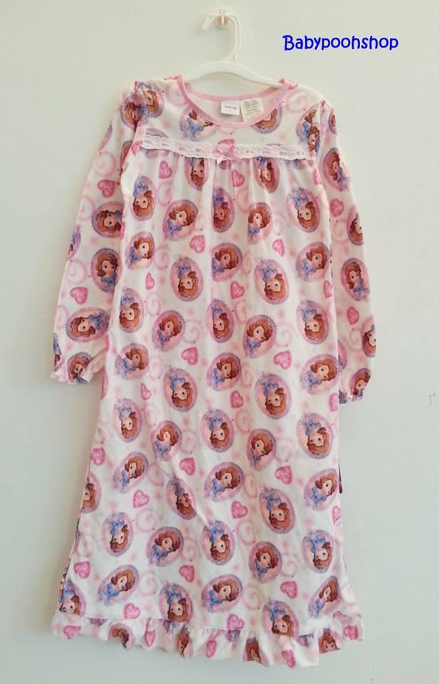 Disney : ชุดนอนแขนยาว ผ้าสำลี พิมพ์ลายเจ้าหญิงโซเฟีย สีชมพู size : 6y
