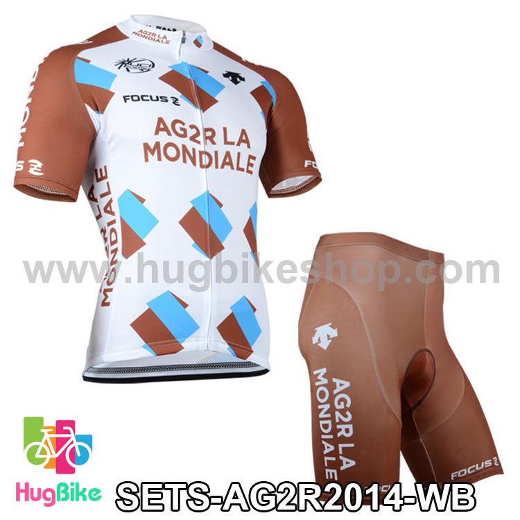 ชุดจักรยานแขนสั้นทีม AG2R LA Mondiale 14 สีขาวน้ำตาล สั่งจอง (Pre-order)