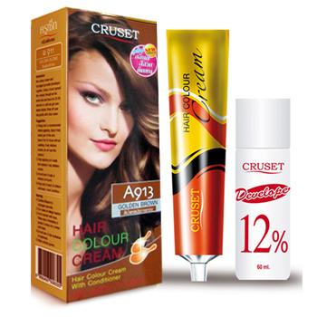 ครูเซ็ท ครีมย้อมผม รุ่น A เอ 913 สีน้ำตาลประกายทอง Cruset Hair Colour Cream A Series A 913 Golden Brown 60 ml.