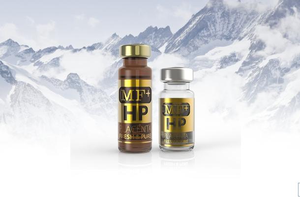MF+ HP จากประเทศสวิสเซอร์แลนด์ มีส่วนประกอบของ Placenta ที่เข้มข้นถึง 500 mg 10 vials X 4m.