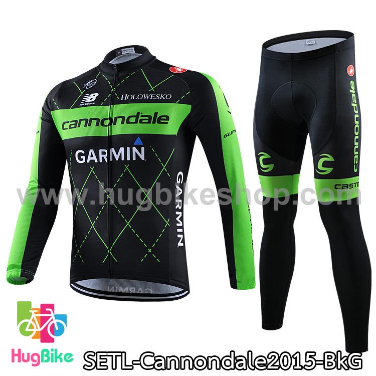ชุดจักรยานแขนยาวทีม Cannondale 15 สีดำเขียว สั่งจอง (Pre-order)