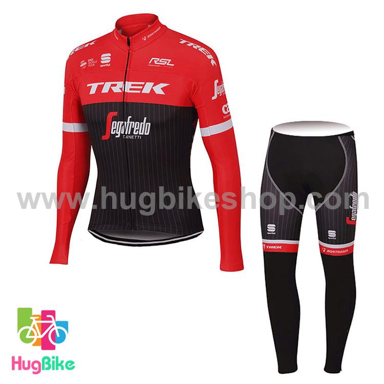 ชุดจักรยานแขนยาวทีม Trek 17 (02) สีแดงดำ สั่งจอง (Pre-order)