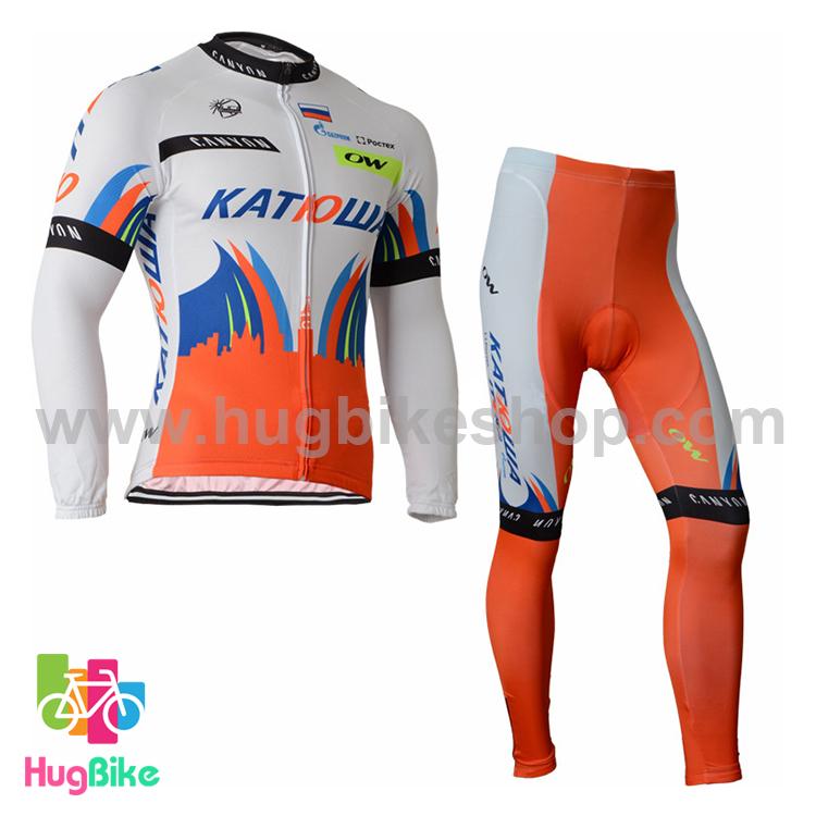 ชุดจักรยานแขนยาวทีม Katwa 15 (01) สีขาวแดง