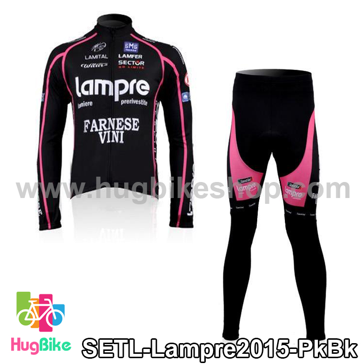 ชุดจักรยานแขนยาวทีม Lampre 15 สีชมพูดำ สั่งจอง (Pre-order)