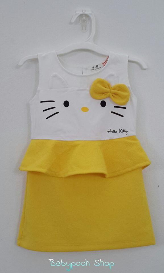 H&M : เดรส Hello Kitty กระโปรงสีเหลือง เนื้อผ้า นิ่มๆ เด้งๆ (made in Vietnam) size 1-2y