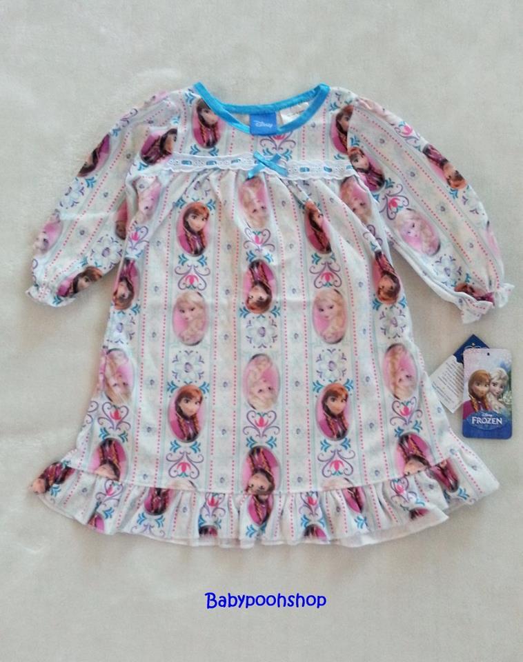 Disney : ชุดนอนแขนยาว ผ้าสำลี พิมพ์ลายเจ้าหญิง Anna & Elsa size : 24m