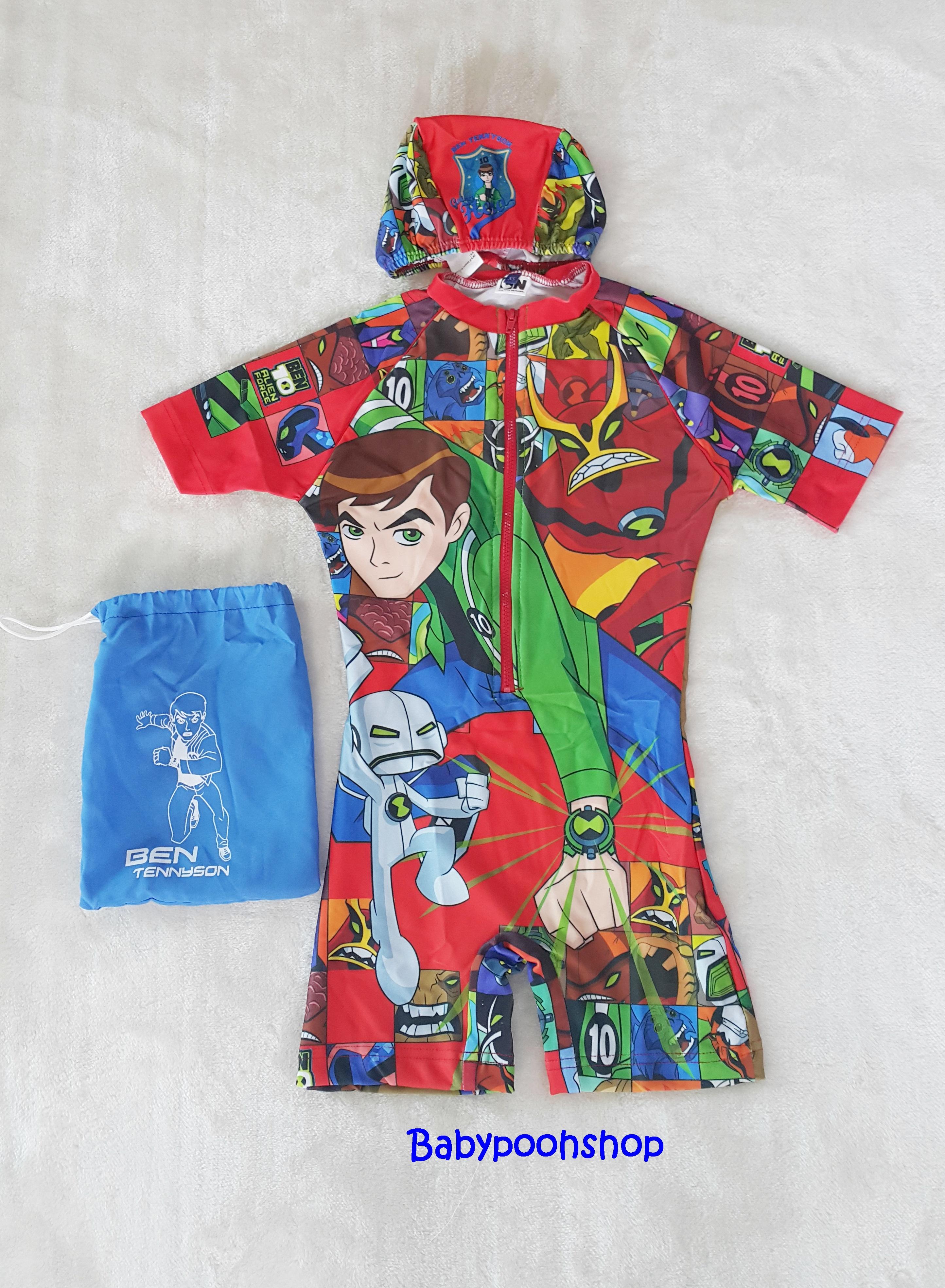 ชุดว่ายน้ำบอดี้สูทลาย Ben 10 สีแดง ซิปหน้า พร้อมหมวกและ ถุงผ้า Size : XS (3-4y)