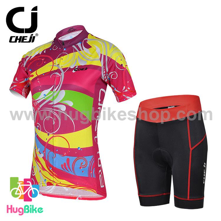 ชุดจักรยานผู้หญิงแขนสั้นขาสั้น CheJi 15 (06) สีชมพูลายเหลือง สั่งจอง (Pre-order)