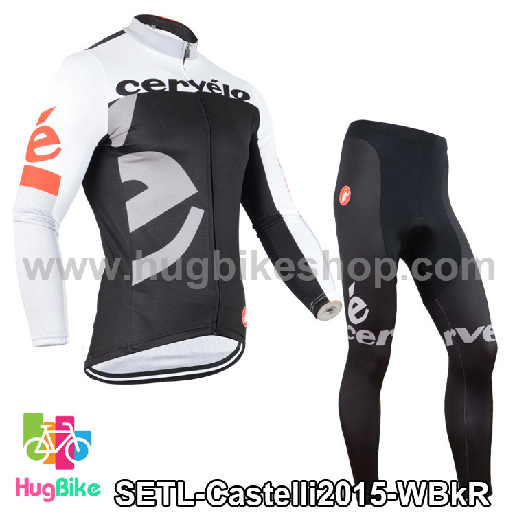 ชุดจักรยานแขนยาวทีม Castelli 15 สีขาวดำแดง