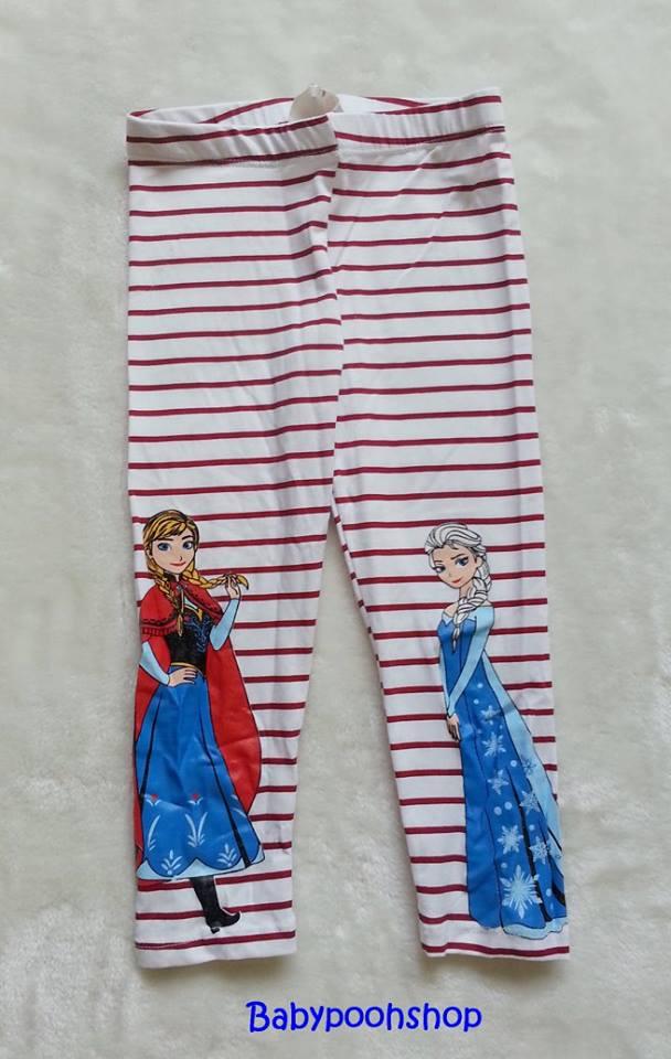 H&M : เลกกิ้ง ลาย Frozen ลายขวางสีแดง (งานติดป้ายผิด) Size : 2-3y / 3-4y