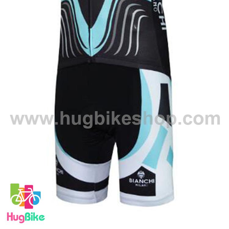 กางเกงจักรยานขาสั้นทีม Bianchi 17 (01) สีดำฟ้าขาว