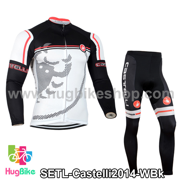 ชุดจักรยานแขนยาวทีม Castelli 14 สีขาวดำ