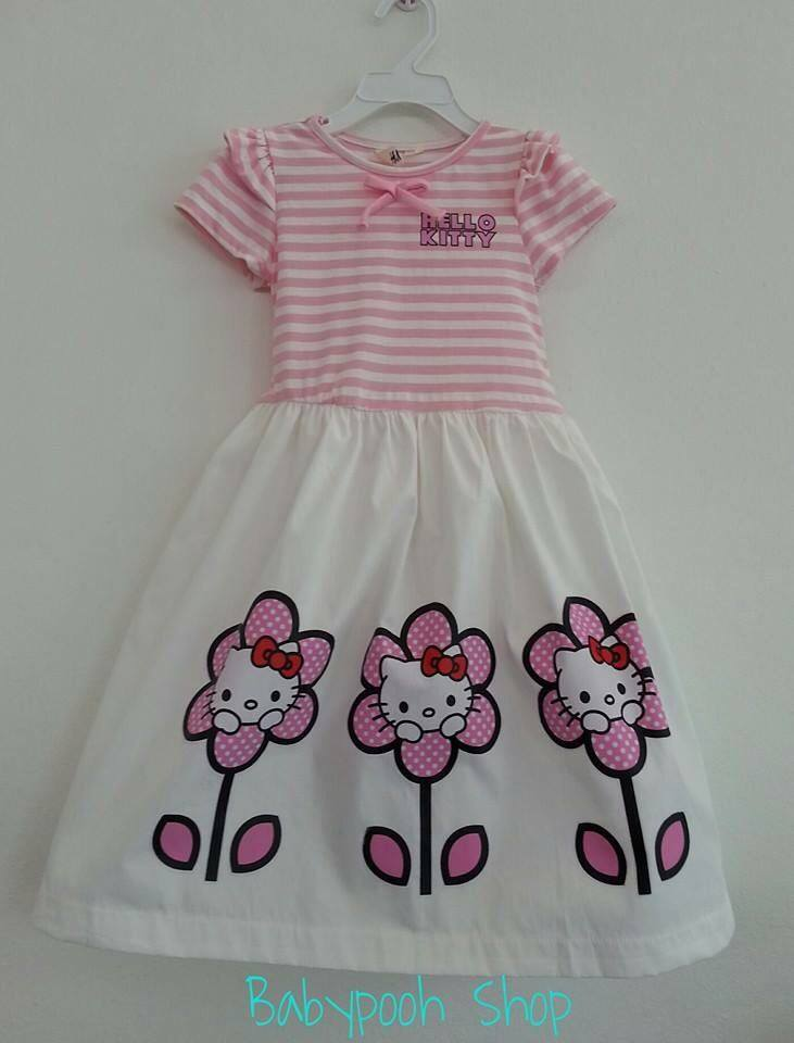 H&M : เดรสคิตตี้ลายขวาง กระโปรงผ้าค็อตต้อนสีขาว ผูกโบว์ด้านหลัง งานน่ารักค่ะ มีสีชมพูอ่อน