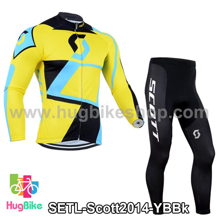 ชุดจักรยานแขนยาวทีม Scott 14 (02) สีเหลืองฟ้าดำ สั่งจอง (Pre-order)
