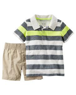 Carter's : ชุดเซ็ท เสื้อโปโล ลายขวางสีเทา เขียว พร้อม กางเกง ขาสั้น สีครีม size : 6m / 9m / 12m / 18m / 24m