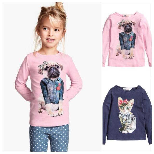**H&M** : เสื้อแขนยาวสีชมพู ลายน้องหมาหน้าย่น ผูกโบว์