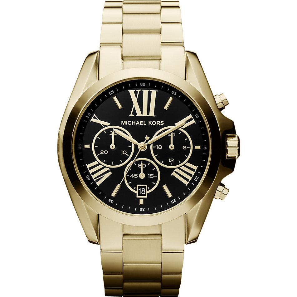 นาฬิกาข้อมือ Michael Kors MK5739 Michael Kors Bradshaw Chronograph Black Dial Gold Tone Ladies Watch MK5739 Size 43 mm