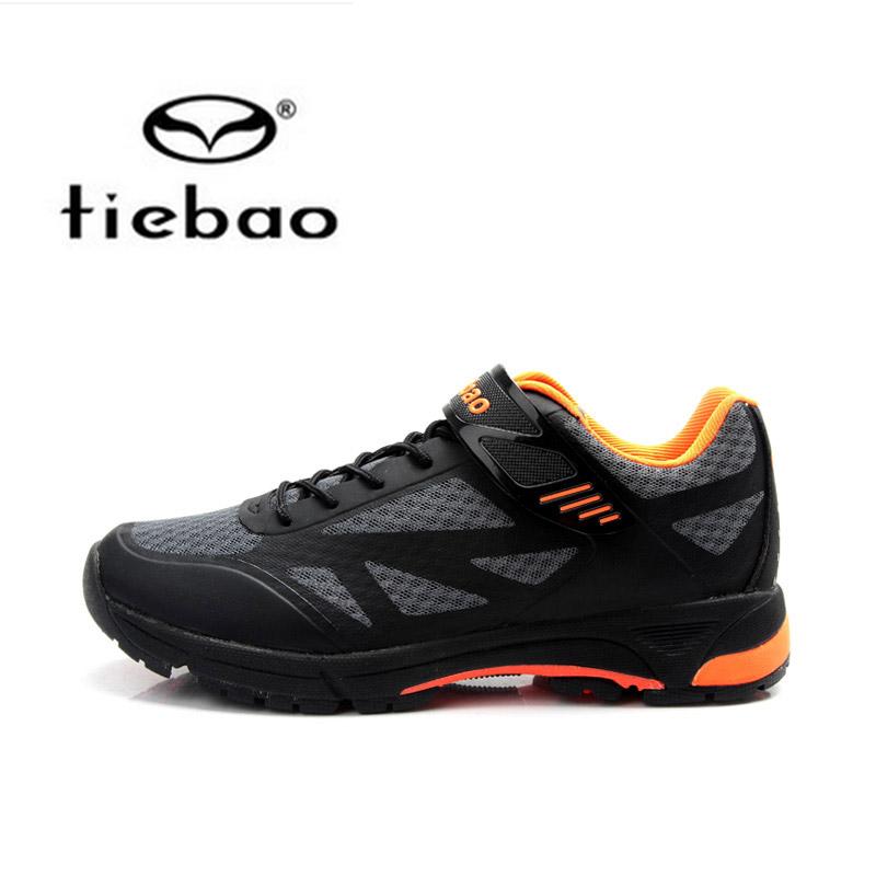 รองเท้าจักรยานเสือภูเขาแบบผ้าใบ TIEBAO รุ่น TB22-B1406 สีดำเทาส้ม