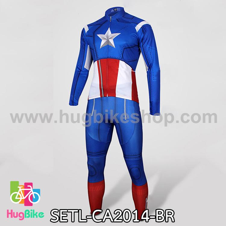 ชุดจักรยานแขนยาว Captain America 14 สีน้ำเงินขาวแดง