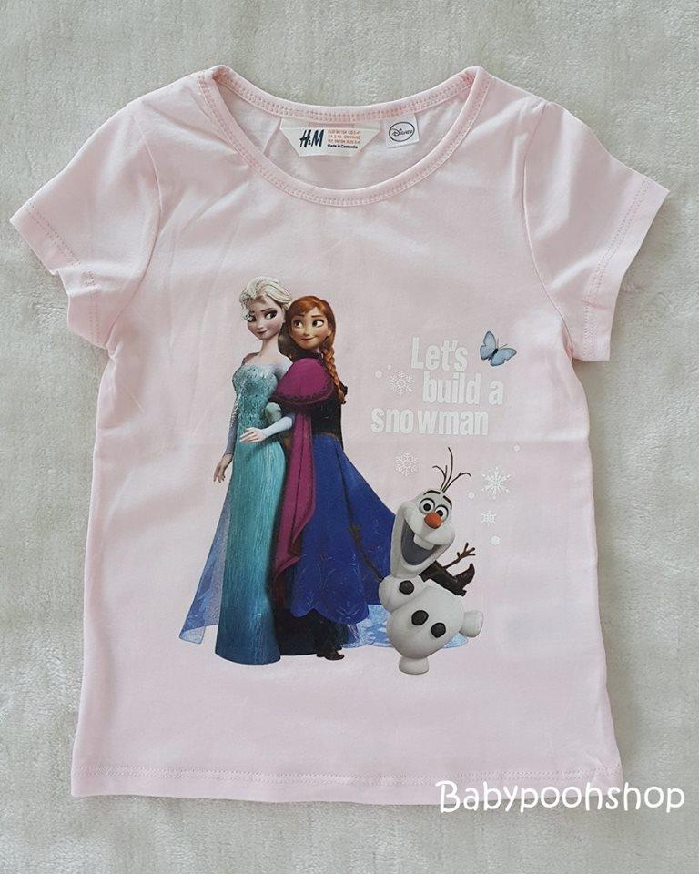 H&M เสื้อยืดแขนสั้น ลายเจ้าหญิง สีชมพูอ่อน size : 1-2y / 8-10y