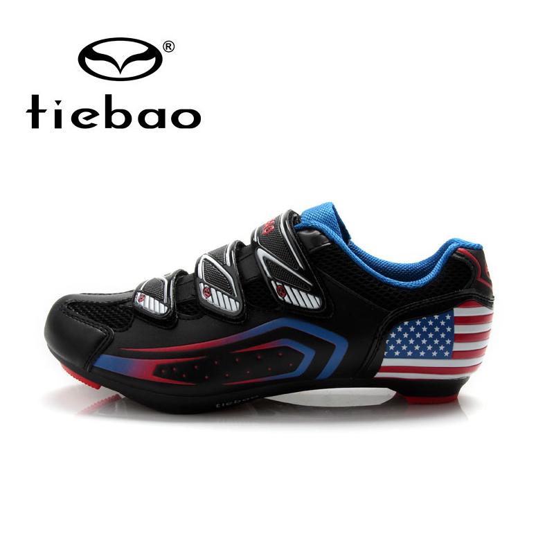 รองเท้าจักรยานเสือหมอบ TIEBAO รุ่น TB36-B1409 สีดำลายธงชาติสหรัฐอเมริกา