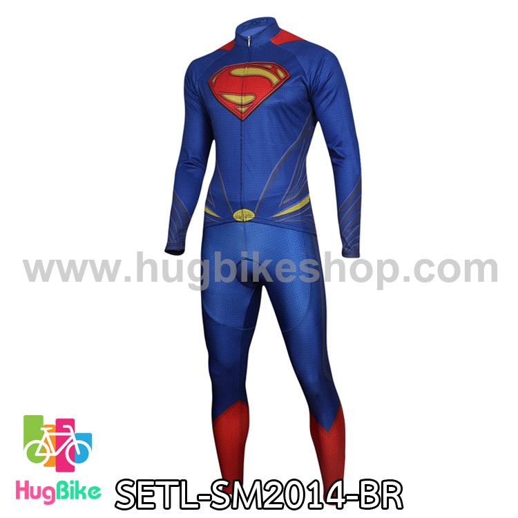 ชุดจักรยานแขนยาว Superman 14 สีน้ำเงินแดง